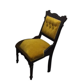 Antique Tufted Yellow Wooden Chair