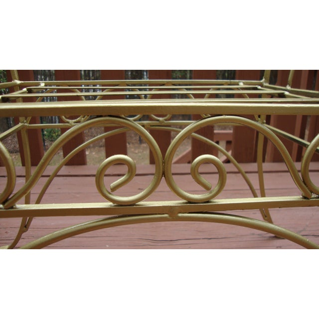 Metal French Art Deco Scroll Bench in Gold Tone - Image 7 of 11