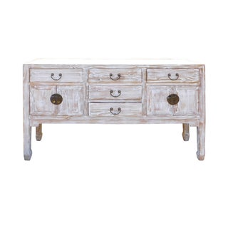 White Wash Wood Grain Finish Sideboard or Credenza