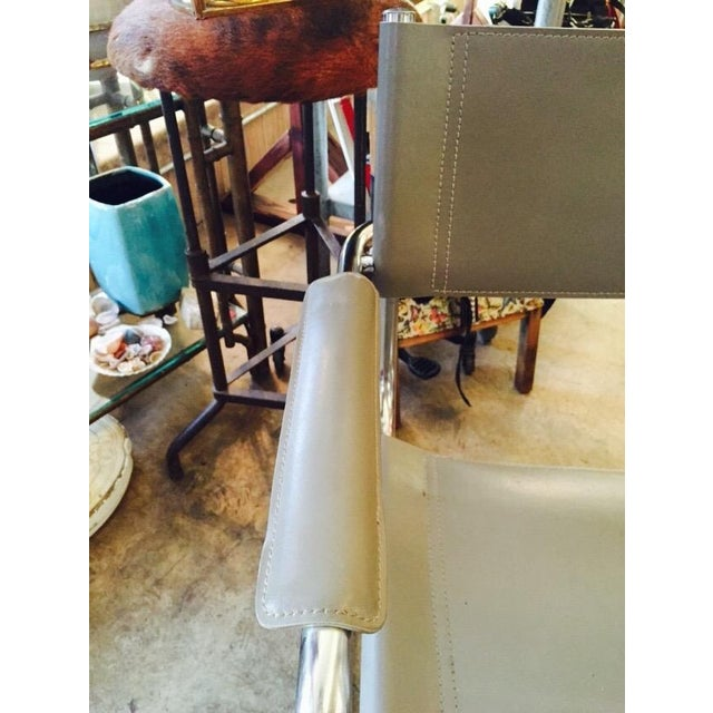 Italian Smoky Grey Leather Sling Chrome Chair - Image 7 of 10