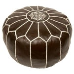 Image of Embroidered Leather Pouf in Coffee