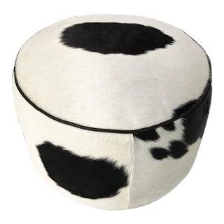 Black & White Cowhide Pouf Ottoman