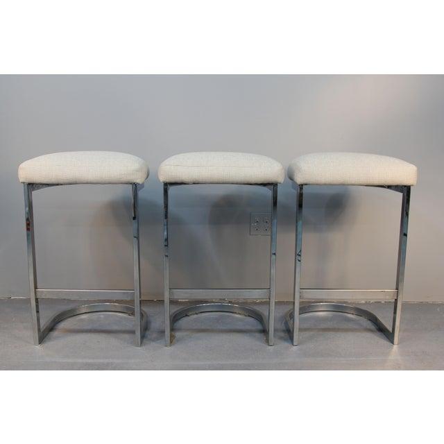 Image of Chrome Cantilever Bar Stools - Set of 3