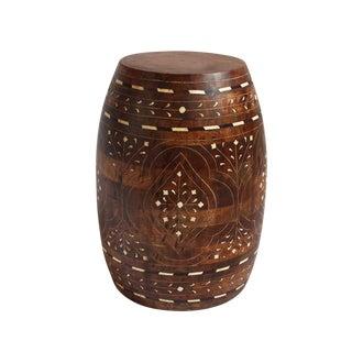 Boho Chic Inlay Barrel Wood Stool