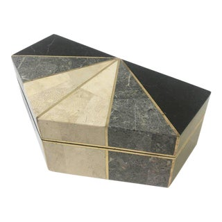 Tessellated Mix Stone with Brass Inlaid Box by Maitland-Smith