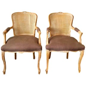 Vintage French Louis XV Bergeres Chairs - A Pair