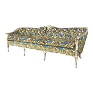 Vintage French Provincial Victorian Green & Blue Velvet Sofa