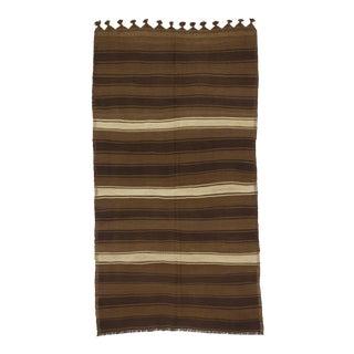 Vintage Turkish Kilim White & Brown Striped Rug - 4′11″ × 8′11″