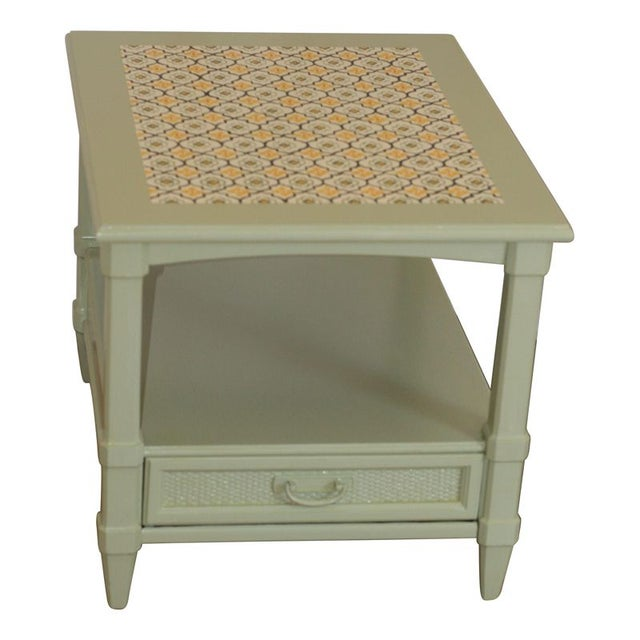 Sage Green End Table With Mexican Tile Inlay Chairish