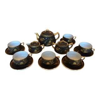 Asian Black & Gold Tea Service- 15 Pieces