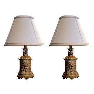 Vintage Gold Repousse Leviton Lamps - A Pair