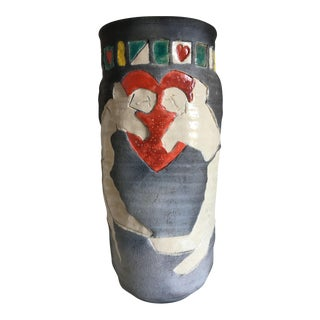 1980's Raku Ceramic Vase by Ruth Richards