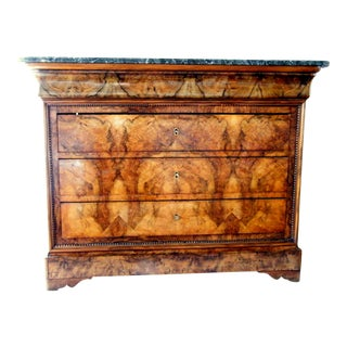 French Walnut & Marble Top Commode