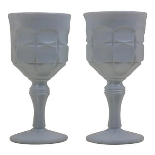 Vintage Milk Glass Goblets - A Pair