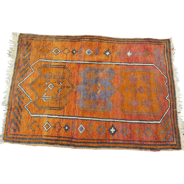 Vintage Orange Turkish Rug - Image 1 of 3
