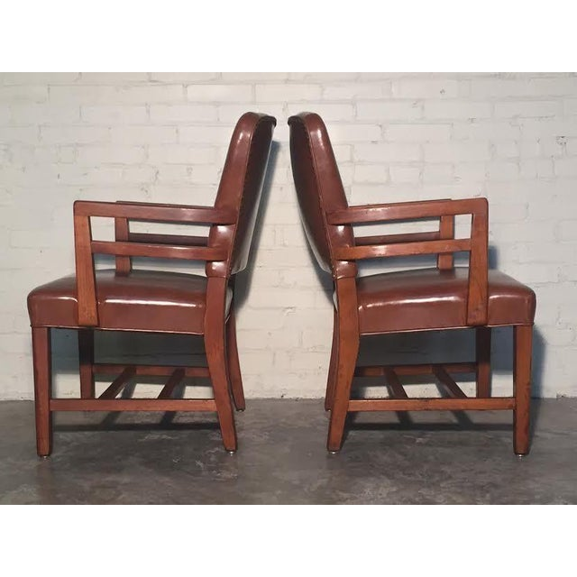 Image of Mid-Century Office Chairs W/Nailhead Back - A Pair