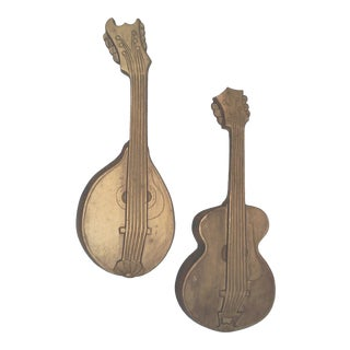 1968 Vintage Gilt Metal Instrument Wall Hangings - a Pair