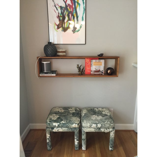 Parsons Stools With Palm Leaf Fabric - A Pair - Image 11 of 11