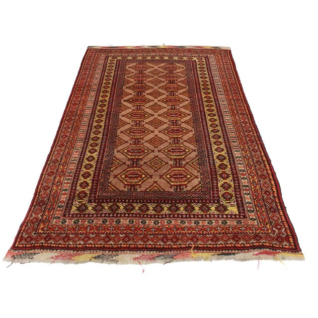 RugsinDallas Unusual Vintage Afghan Turkmen Tribal Area Rug - Image 2 of 2