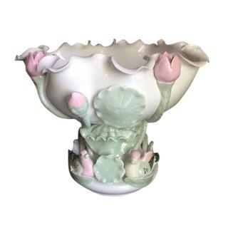 Vintage Porcelain Lotus Pedestal Bowl