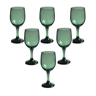 Green Mid-Century Wine Glasses - Set of 6