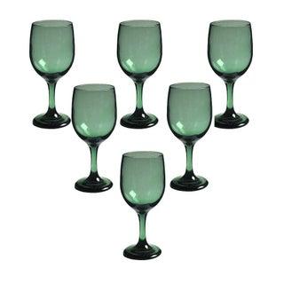Green Mid-Century Wine Glasses - Set of 6
