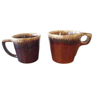 Vintage Brown Drip Glazed Mugs - A Pair