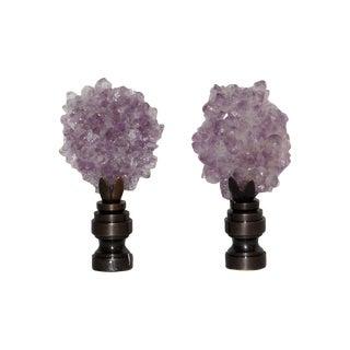 Amethyst Crystal Finials - Pair