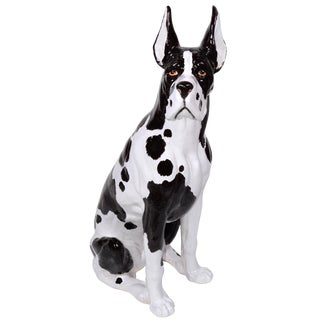 Italian Ceramic Life Size Great Dane Sculpture
