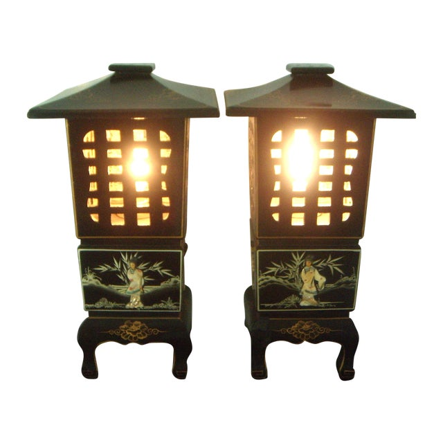 Vintage Lacquered Chinese Lanterns - Pair - Image 1 of 9