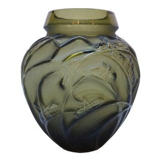 Rene Lalique 1930s Sauterelles Grasshopper Glass Vase
