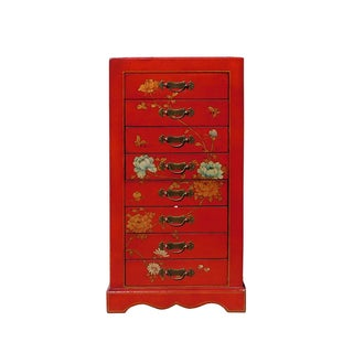 Miniature Red Vinyl Flower & Butterflies Chest of Drawers