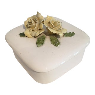 1974 Ceramic Box With Yellow Roses