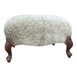 Vintage Cut Velvet Upholstered Ottoman