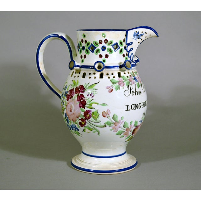 Newcastle Pearlware Botanical Pottery Presentation Puzzle Jug, Inscribed John Denvell, Long-Benton & Dated 1830. - Image 4 of 5