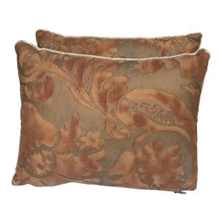 Transitional Rust, Apricot & Gold Fortuny Pillows - A Pair