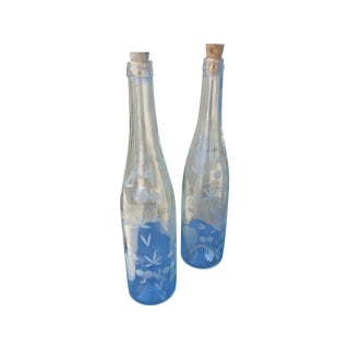 Etched Glass Water Bottles - A Pair