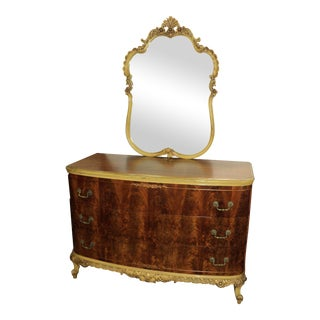 Antique French Provincial Dresser & Mirror - A Pair