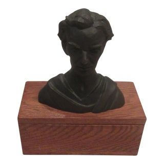 Stately Abraham Lincoln Bronze Atop Oak Valuables Box