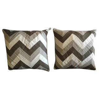 Grey Chevron Pillows - A Pair