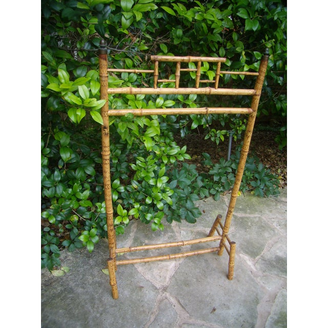 Antique Victorian English Scorched Bamboo Towel / Quilt Rack - Image 5 of 6