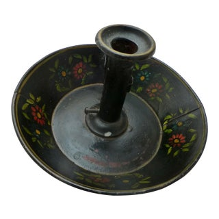 19th C. Tole Painted Push Up Candle Stick