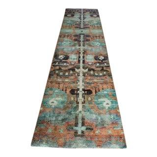 Vibrant Silk Runner - 2′11″ × 12′1″