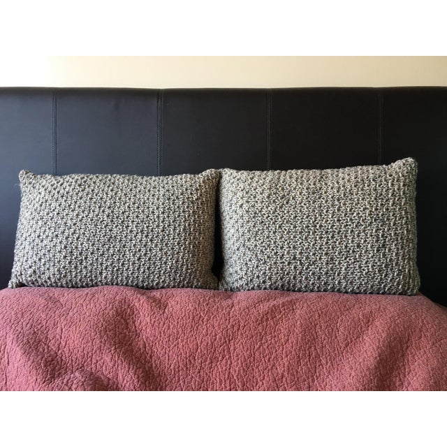 Knotted Wool Pillows, Warm Grey Decor Set/2 - Image 3 of 8