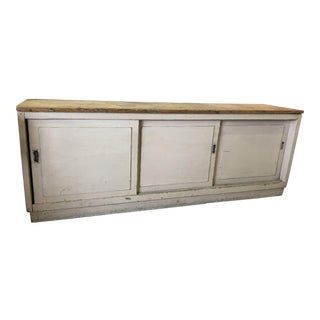 Vintage Distressed White Wooden Shop Cabinet