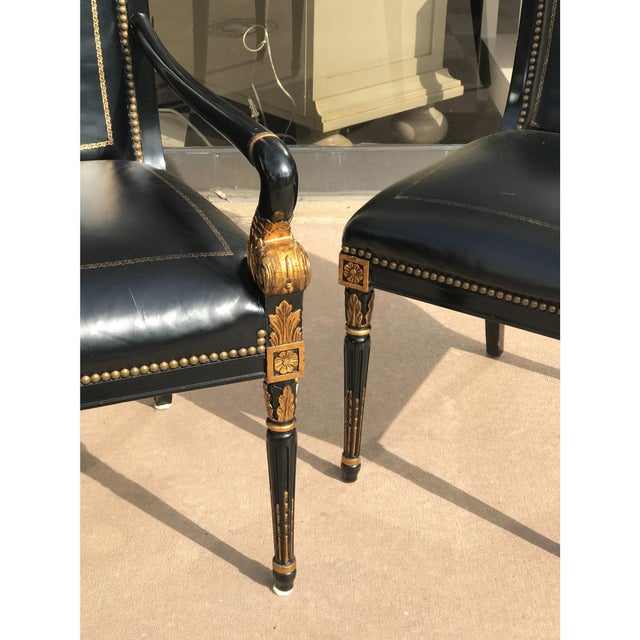 French Empire Leather Chairs - a Pair - Image 4 of 7