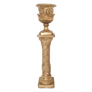 Ornate Gold Pillar Stand and Urn