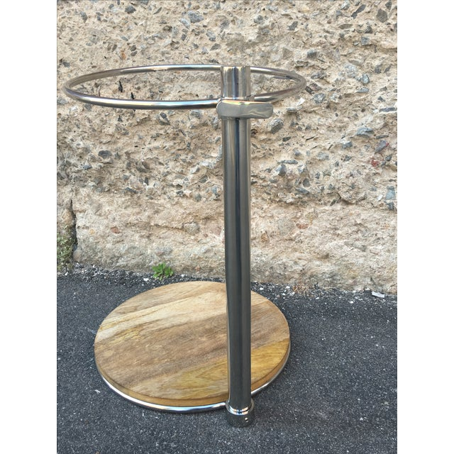80's Glam Style Chrome Round Side Table - Image 4 of 6