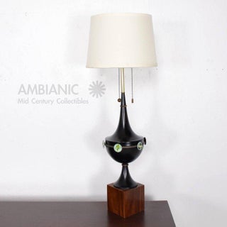 Mid Century Modern Sculptural Table Lamp with Enamel Decorations