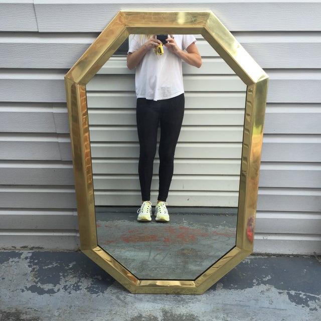 Large Vintage 1970s Modernist Mastercraft Solid Brass Octagon Mirror - Image 2 of 11